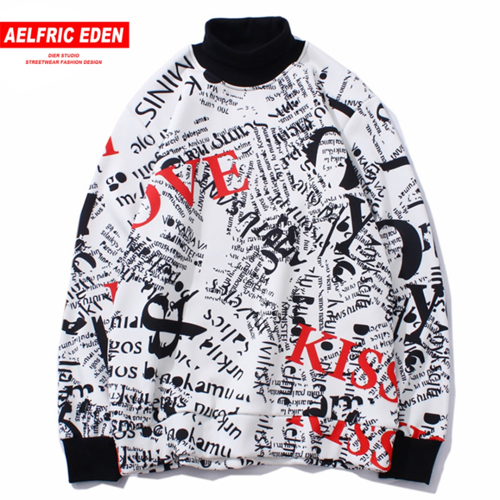 AELFRIC Hoodie Men 2018 Autumn Winter Fleece Casual Outwear Graffiti Print Hip Hop Hoodies Sweatshirts Pullover Street Wear JQ11