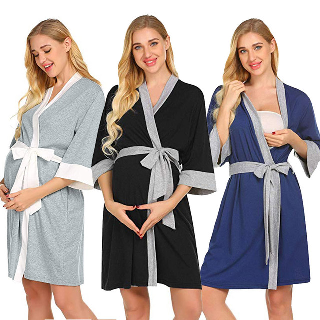 d8865a6d52fd1 Autumn Winter Womens Maternity Pregnancy Labor Robe Delivery Nursing  Nightgowns Hospital Breastfeeding Gown