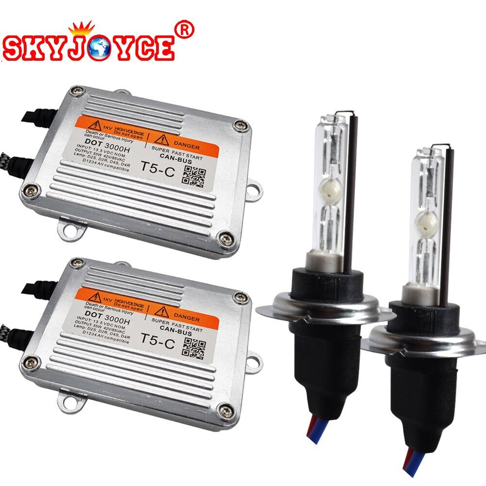 SKYJOYCE One Set H7 HID Kit xénon 55 W DLT T5-C démarrage rapide canbus Ballast H1 H3 H7 H11 9005 9006 Cnlight 55 W ampoule xénon 6000 K