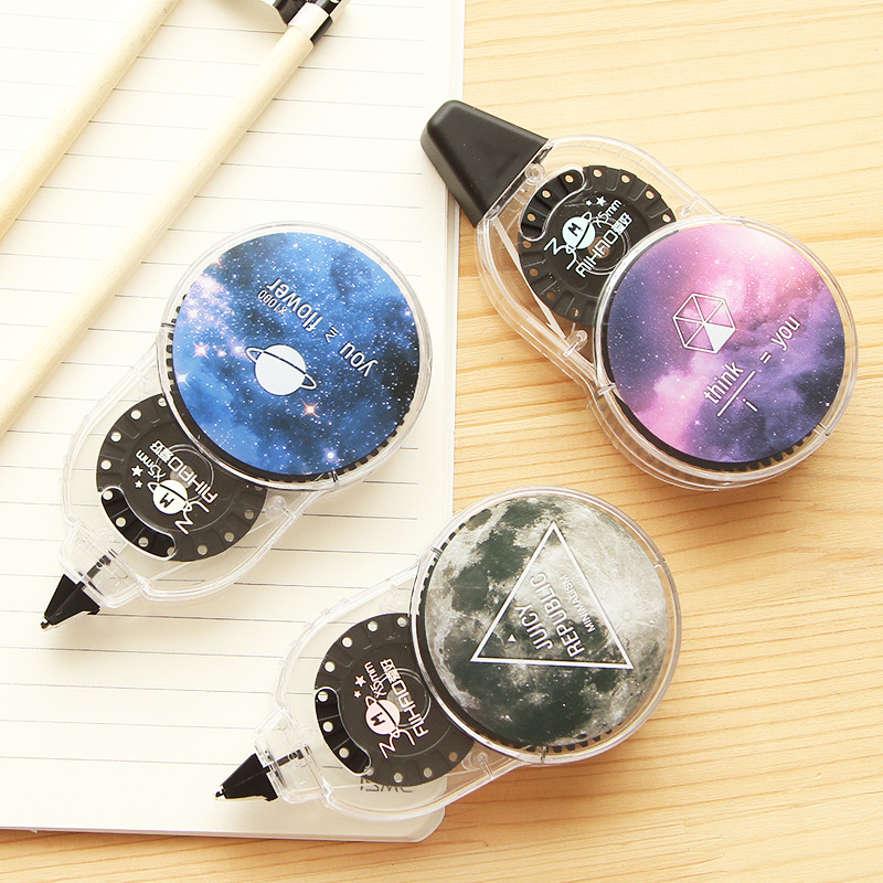 Creative Kawaii Universe And Star Special Pattern 30m Roller Long White Sticker Correction Tape Student School Office Supplies