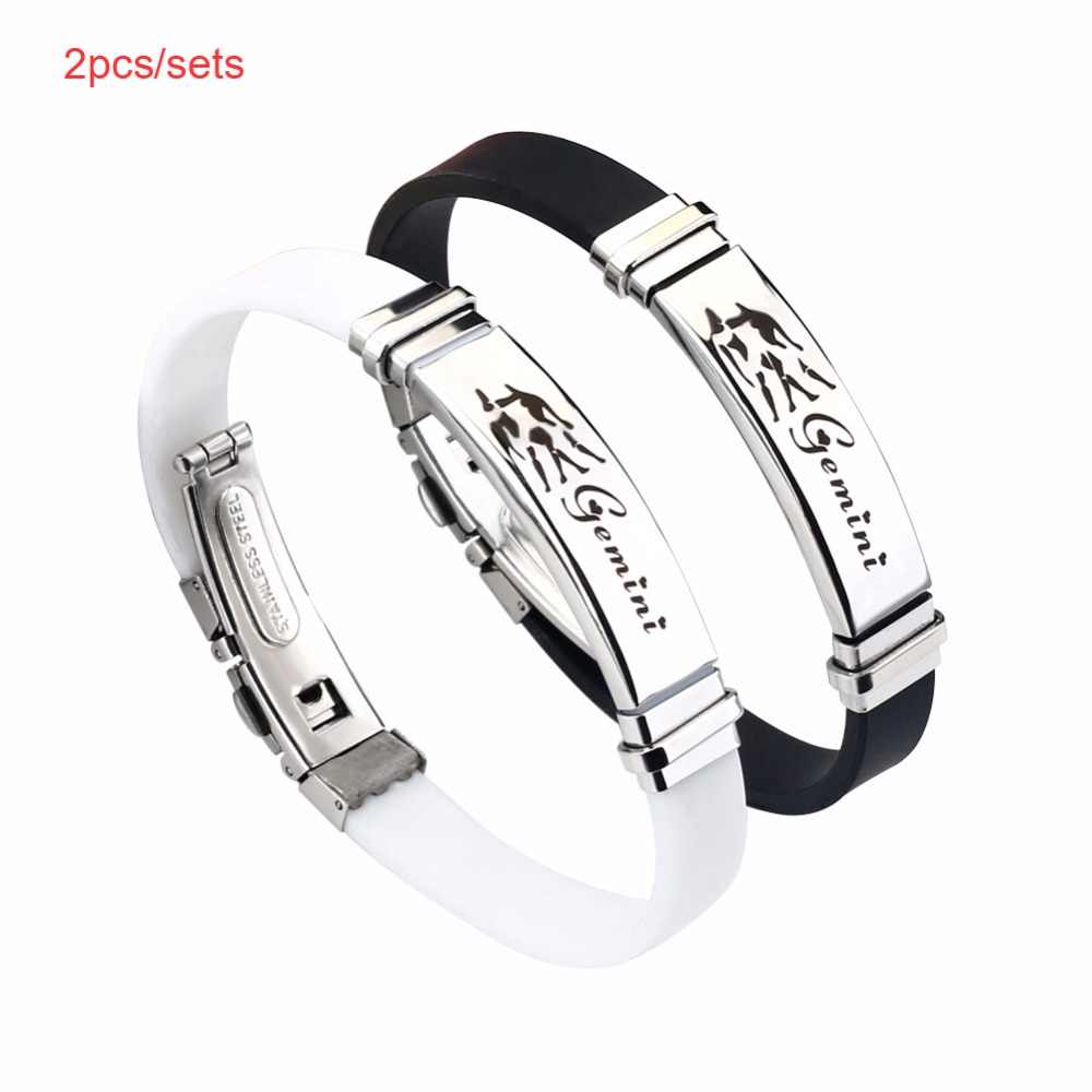 2pcs/set Couple 12 Constellations Silicone Bracelet Fashion Jewelry Stainless Steel Casual Zodiac Punk Rubber Bracelet Men Women