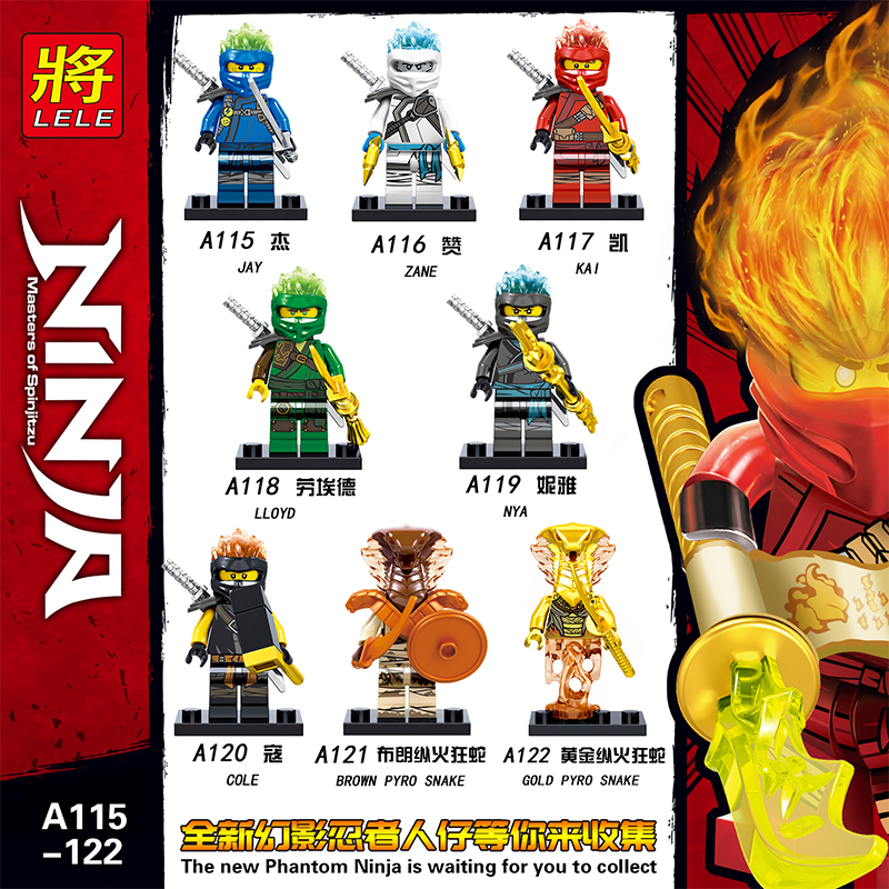 50 PCS/LOT blocs de construction Legoed Ninja héros Figures Kai Jay Cole Zane Nya Lloyd serpent avec armes enfants jouets A115-A122