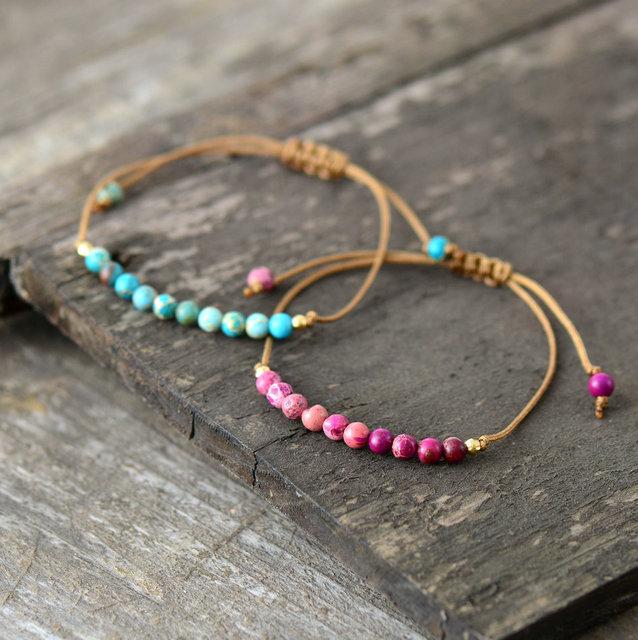 Boho bracelet unique natural stone simple string bracelet for Unique stones for jewelry making