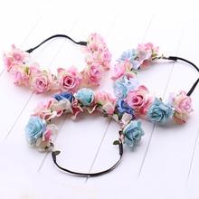 Handmade Rose Flower Wreath Crown Garland Halo Beauty Bride headband Girl's Headwear Floral Hair Accessory for Women festival