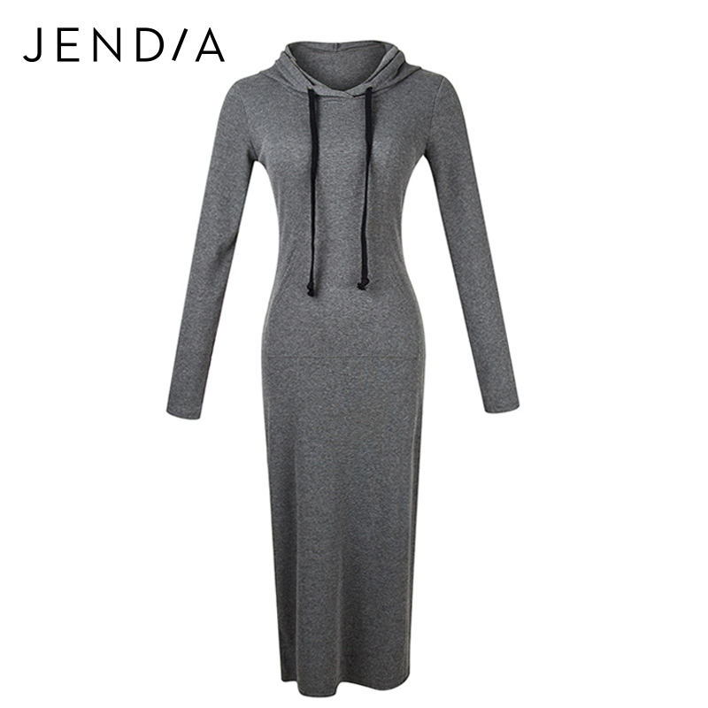 JENDIA 2017 Casual Knitted Dress Women Winter Warm Long Dresses Sheath Pencil Bodycon Long Sleeve Pocket