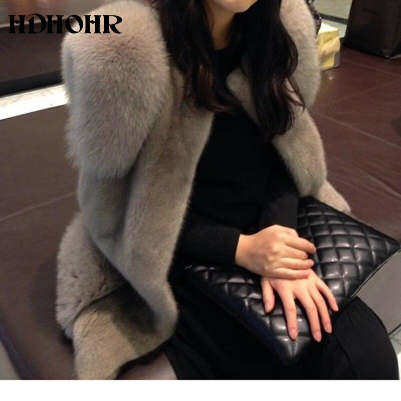 HDHOHR 2019 New 100% Natural Women's Outerwear Coats New Vest Fox Fur With Importe Mink Fur Vest Whole Female Short Mink Vest