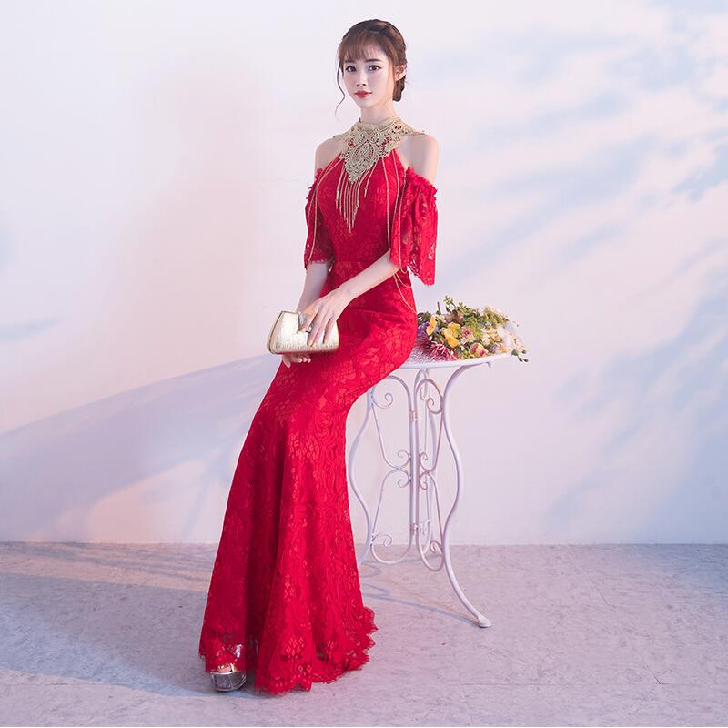 Us 85 45 6 Off Spring Autumn Party Dinner Dress Fashion Elegant Bride Fishtail Wedding Engagement China Tradition Mermaid Tail Cheongsam In