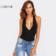 COLROVIE Backless Strap Beading Plunge Halter Bodysuit
