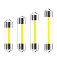 Festoon lâmpada led 360 graus, 10 peças, 31mm, 36mm, 39mm e 41mm, c5w, filamento cob 12 chips lâmpada led para interior do carro, caixa de vidro