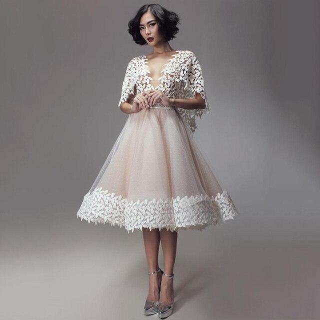 67f0b638e3e Мода Короткие Вечерние Платья Бальное платье С Аппликации Половина Рукава  Из Органзы Глубокий V Шеи Вечерние
