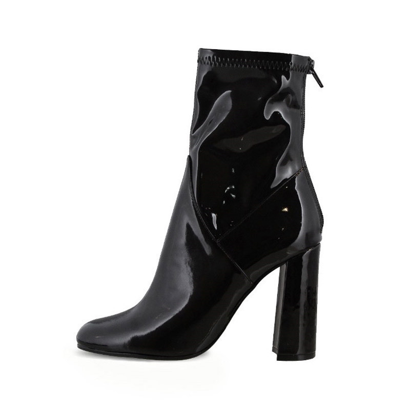 As Épais Noir Hauts Classique Bottes Chaussures Brillant Talons Moto Cuir Bota Pompes Pour Sexy À Pic Cheville Les Femme Feminina Chaussons Femmes Y7byf6g