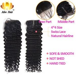 """Image 5 - Aliafee Haar Mongoolse Krul Haar Weave Bundels Natuurlijke Kleur Diepe Golf Bundels Met Sluiting 100% Human Hair Extensions 8""""  28"""""""