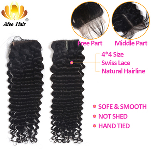 "Image 5 - Aliafee Hair Mongolian Curl Hair Weave Bundles Natural Color Deep Wave Bundles With Closure 100% Human Hair Extension 8"" 28"""