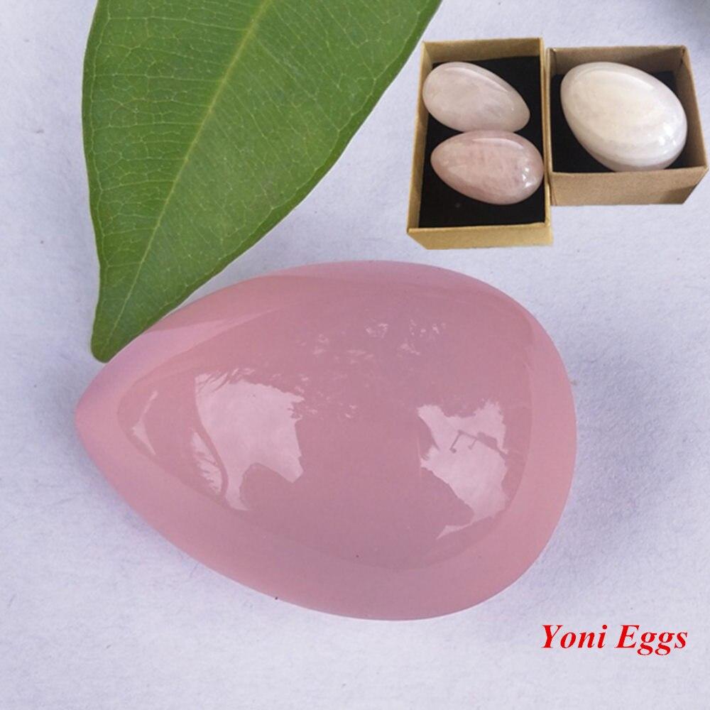 Khoan Jade Egg Tự Nhiên Rose Quartz Yoni Trứng Pha Lê Hình Cầu Để Tập Thể