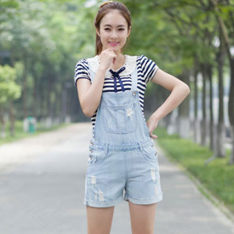Free Shipping 2020 Fashion Shorts Ladies Romper Pants For Women High Quality Denim Jeans Loose Jumpsuits XL Summer Hole ripped