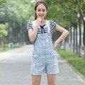 O Envio gratuito de 2017 Calções de Moda Senhoras Calças Romper Para As Mulheres de Alta Qualidade Denim Jeans Macacões Soltos XL Verão Buraco rasgado