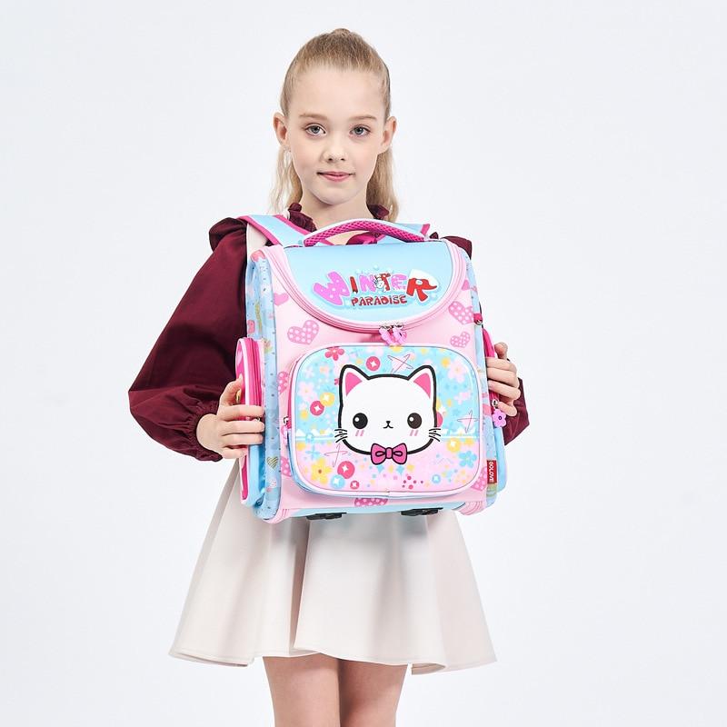 все цены на Summer Girl School Backpack 3D Cartoon Butterfly Girls School Bags Children Primary School Grade 1-3 Hello Kitty Cat School Bag