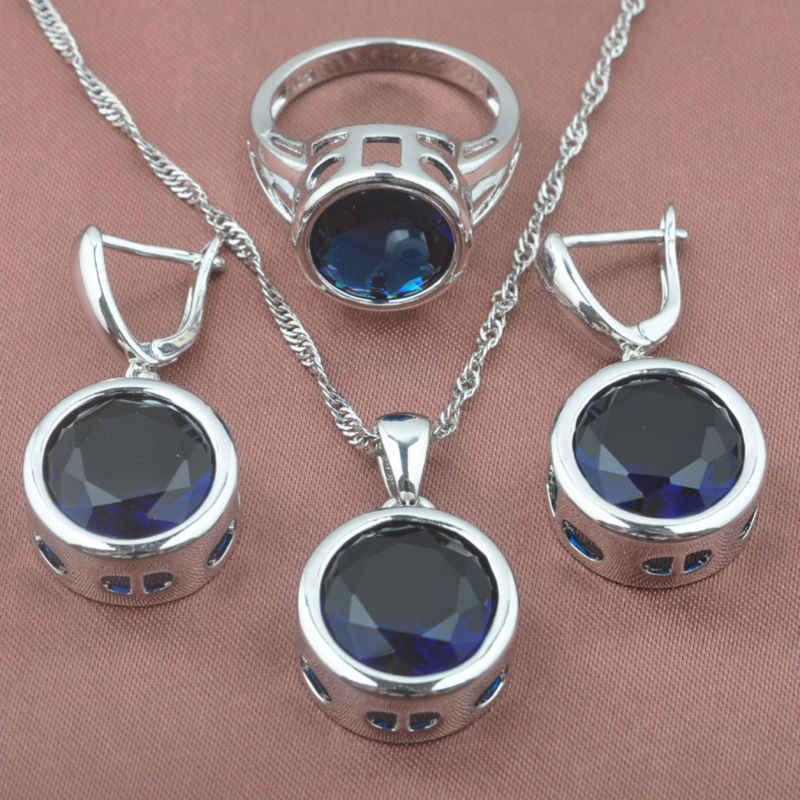 คลาสสิกหินสีฟ้า Zirconia ผู้หญิง 925 เงินสเตอร์ลิงชุดเครื่องประดับสร้อยข้อมือสร้อยคอจี้ต่างหูแหวน YZ0371