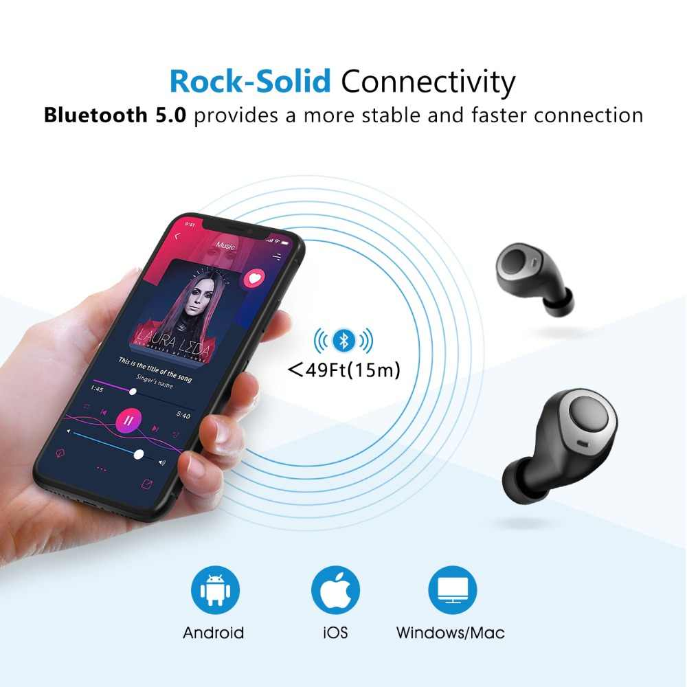 06f91548be5 ... Mpow T3 TWS Bluetooth 5.0 Wireless Earphones 24H Playing Time TWS  Headset Earbuds With Mic Charging ...