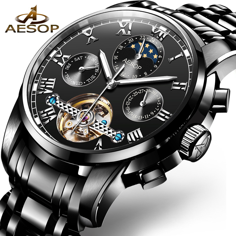 Luxury Brand Tourbillon Sports Men Watch Automatic Mechanical Black Watch Military stainless steel Skeleton Watches reloj New winner skeleton mechanical watch luxury men black waterproof fashion casual military brand sports watches relogios masculino