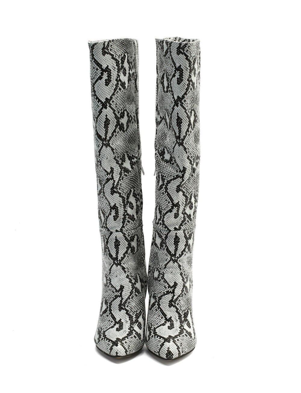Épais Genou Bottes Initiale Chaussures Ef1676 Print Populaire Du Serpent Pointu Talons Imprimer Plus Taille L'intention Hauteur Bout Haute Dames À Snake Femmes iPZuOXkT