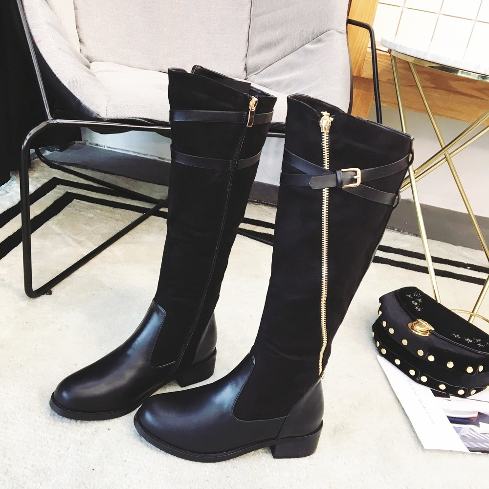 2017 long boots autumn and winter over the knee length personality oblique zip cross belt buckle high female with cotton boots
