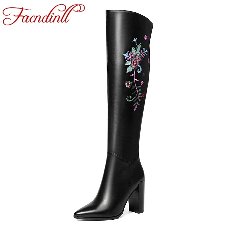 FACNDINLL brand shoes new fashion autumn winter warm long boots sexy high heels pointed toe zipper black knee high boots shoes meotina knee high boots winter platform high heel boots pointed toe fashion shoes crystal flower long boots zipper black 42 43
