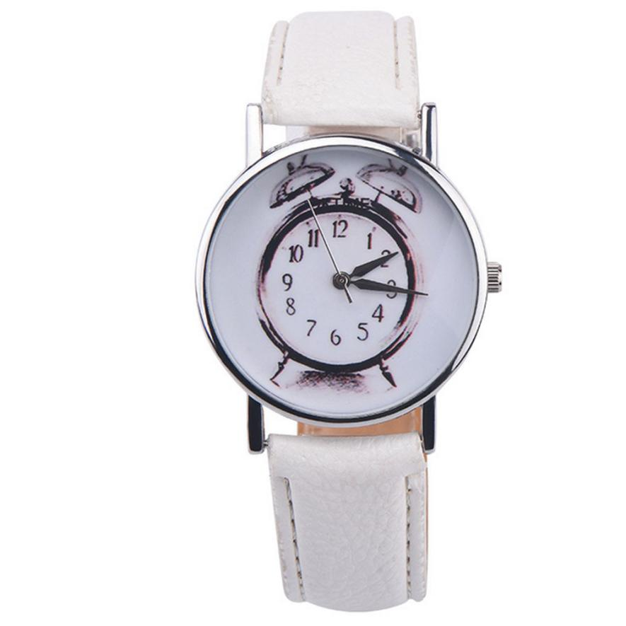 2018 Leather Alarm clock printing Analog Quartz Vogue Wrist WatchWomen Quartz Watch Stainless Steel black watch Relojes Hombre