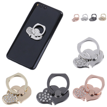 Милое Универсальное кольцо с бриллиантами для мобильного телефона смартфона, 360 градусов, кольцо на палец, подставка с сердцем, автомобильный держатель