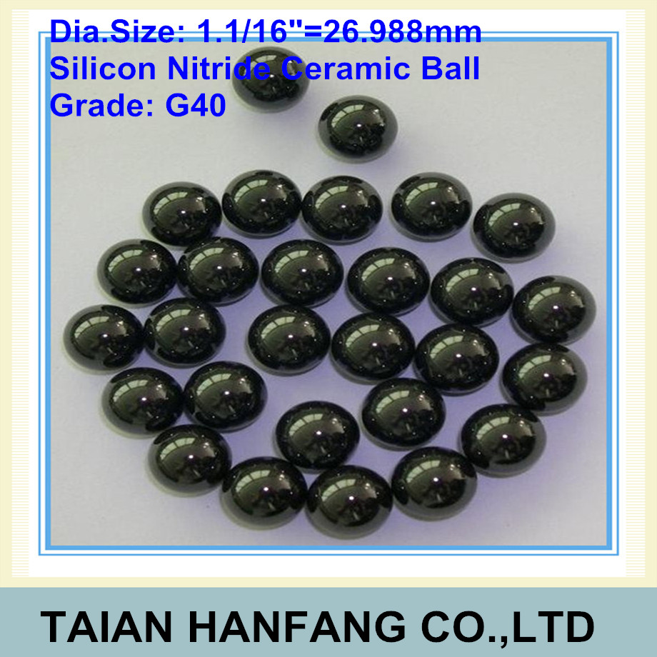 26.988mm Silicon Nitride Ceramic Ball Si3N4 Grade G40 Used in Bearing, Pump, Valve Ball 26.988mm ceramic ball