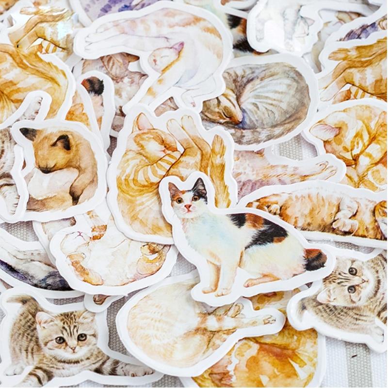 Купить с кэшбэком 46pcs/lot  Kawaii Cartoon lazy cat Mini Paper Stickers Decoration DIY Scrapbooking Sticker Stationery cute label stickers