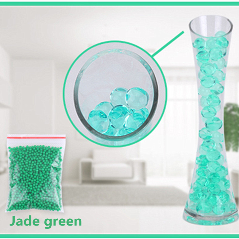 Jade green color 1000pcs/Bag Crystal Mud Soil Water Beads Bio Gel Ball For Flower/Weeding/Deraction