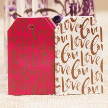 Feiluan 1000pc gold foil love wedding tag card DIY paper handmade gift swing hang tag card pink heart married favors tag card(China)