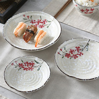 Japanese Ceramics Plates Vegetables Snack Dishes Food Tray Dinner Plates Noddle Dinnerware Kitchen Accessories Snowflake Glaze