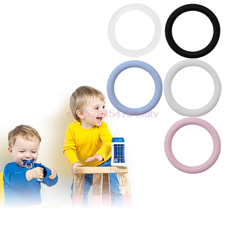 Baby O-Rings Silicone Dummy Pacifier Chain Clips Adapter Holder New 5pcs #H055#