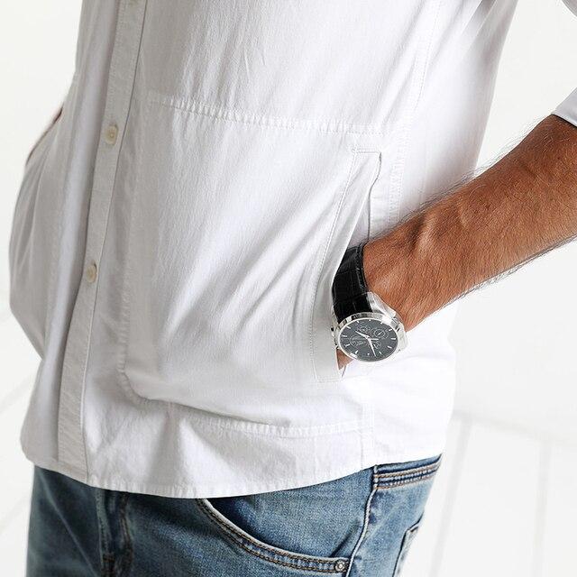 Casual pocket 100% cotton slim fit high quality Shirt 4