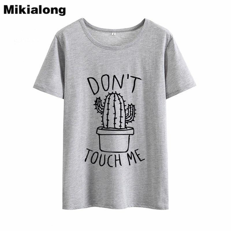 OLN 2018 NÃO ME Cactus RESISTENTE T shirt Ocasional Das Mulheres Tshirts De Algodão de Verão partes superiores das mulheres Do Vintage Preto Branco T-shirt Das Mulheres