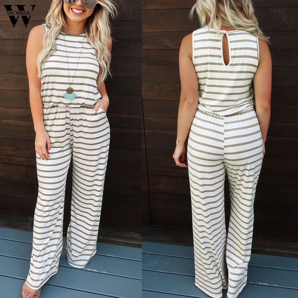 Womail Bodysuit Women Fashion Summer Striped  Sleeveless Long Jumpsuit Loose Clubwear Pocket Wide Leg Jumpsuit Casual 2019 M530