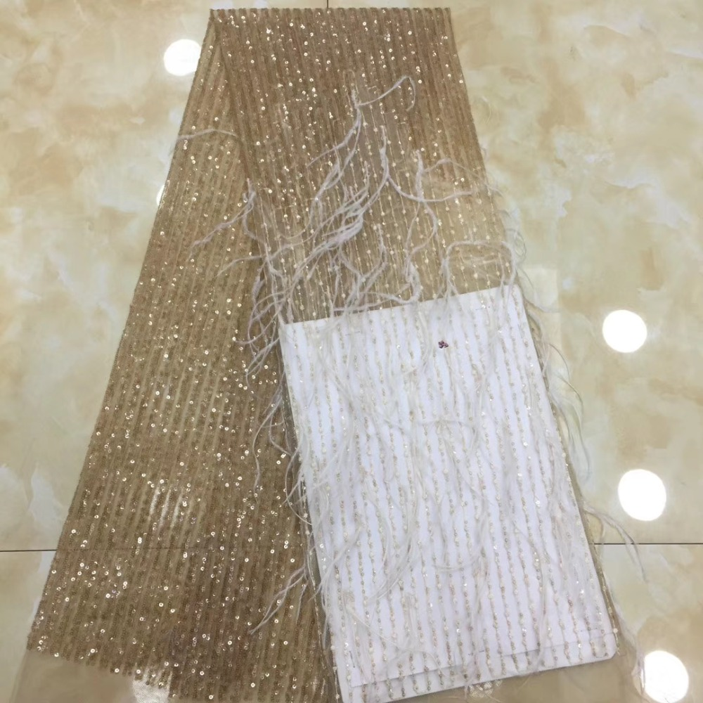 Cassiel Sequin Nigerian Lace Fabric High Quality 3d Feather Fabric Embroidery Tulle Lace Fabric For African Lace Matrial Wedding