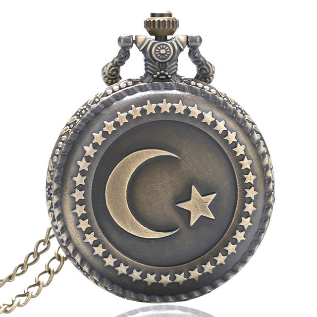 Antique Bronze Pocket Watch Turkey Flag Star and Moon Cover Slim Necklace Patrio