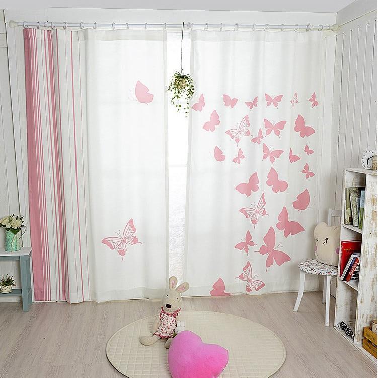 ⊰Nieuwe Koreaanse roze vlinder verduisteringsgordijnen afgewerkte ...