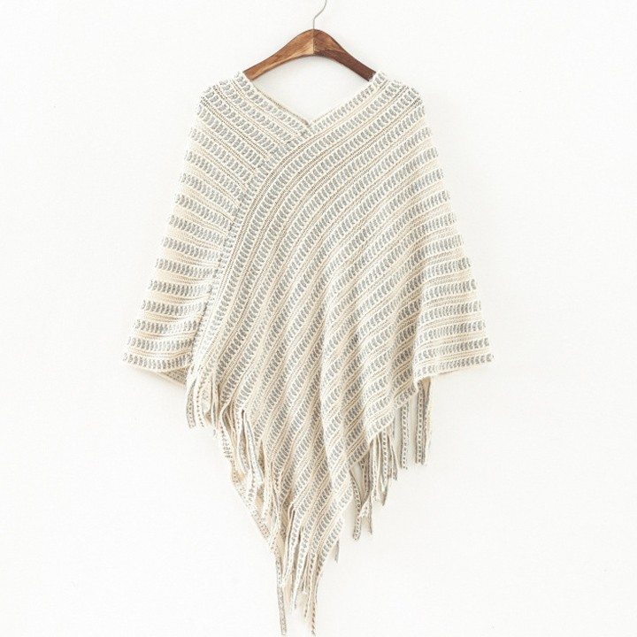 5250d7705 Autumn Winter Sweater Women Poncho Pullovers Poncho women Stripes Fringed  Tops Cloak Poncho Shawl Cape Sweater 63-in Pullovers from Women's Clothing  on ...