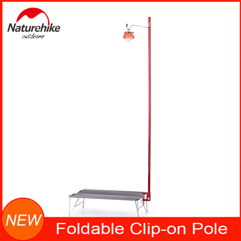 Naturehike Outdoor Camping Equipment Foldable Clip-on Pole With Hook -ideal For Hanging Camp Lantern Solar Lights Picnic Lamps