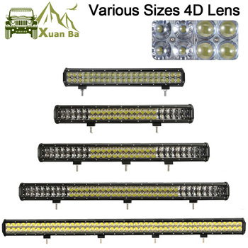 XuanBa 4D LED Light Bar 4x4 Offroad Car 12V 24V ATV SUV Truck Auto off road bar Fog Lamp 300W 210W Combo Led Work Driving Lights