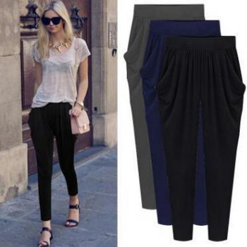 Women Pants Trousers Casual Athleisure High Waist Leggings Modern Lady Harem pants