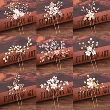 hot deal buy pearl rhinestone hair pins wedding hair accessories for women golden bridal hairpins sticks wedding hair jewelry pearl ornaments