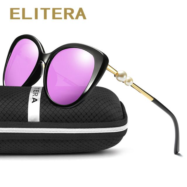 ELITERA Fashion Butterfly Pearl Sunglasses Women Mirror Polarized UV400 Sun Glasses Brand Designer With Original Box