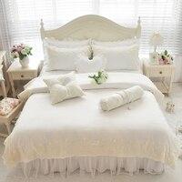 Роскошные белые Кружево постельных принадлежностей шелк хлопок мягкие постельное белье девушки дети twin двуспальная кровать комплект с юбк