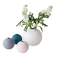Nordic Modern Ceramic Ball Vase Macaron Origami White Pink Gray Green Vases Home Wedding Bedroom Living Room Decoration Crafts