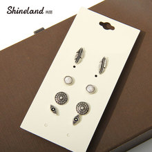 Fashion accessories stud earring pack set 4 pairs round eyes silver leaves hollow earrings gift for